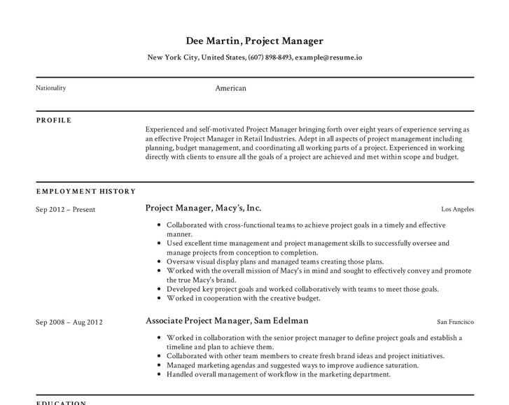 Resume.io project manager CV