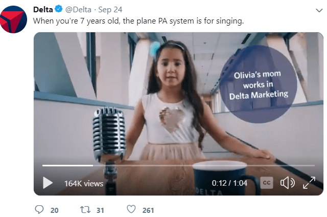 Delta airlines twitter post
